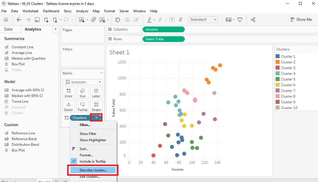 Tableau Data clusters in Scatter plots Step 9